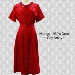 Vintage Cay Artley ~ Red & Black Rose Print Dress